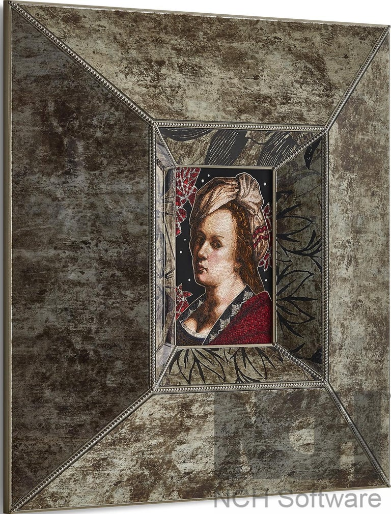 Italian Amazing Artemisia Gentileschi Micromosaic Canvas White Diamonds Jet Gold For Sale