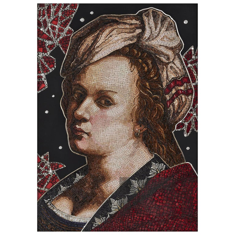 Amazing Artemisia Gentileschi Micromosaic Canvas White Diamonds Jet Gold For Sale
