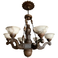 Amazing Arts & Crafts 6-Light Chandelier with Owl Sculpture and Alabaster Shades