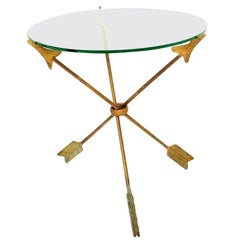 Amazing Arturo Pani Bronze Arrows Martini Side Tripod Table Glass Top, 1940s