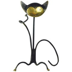 Amazing Austrian Midcentury Brass Cat Wine Bottle Holder by Walter Bosse