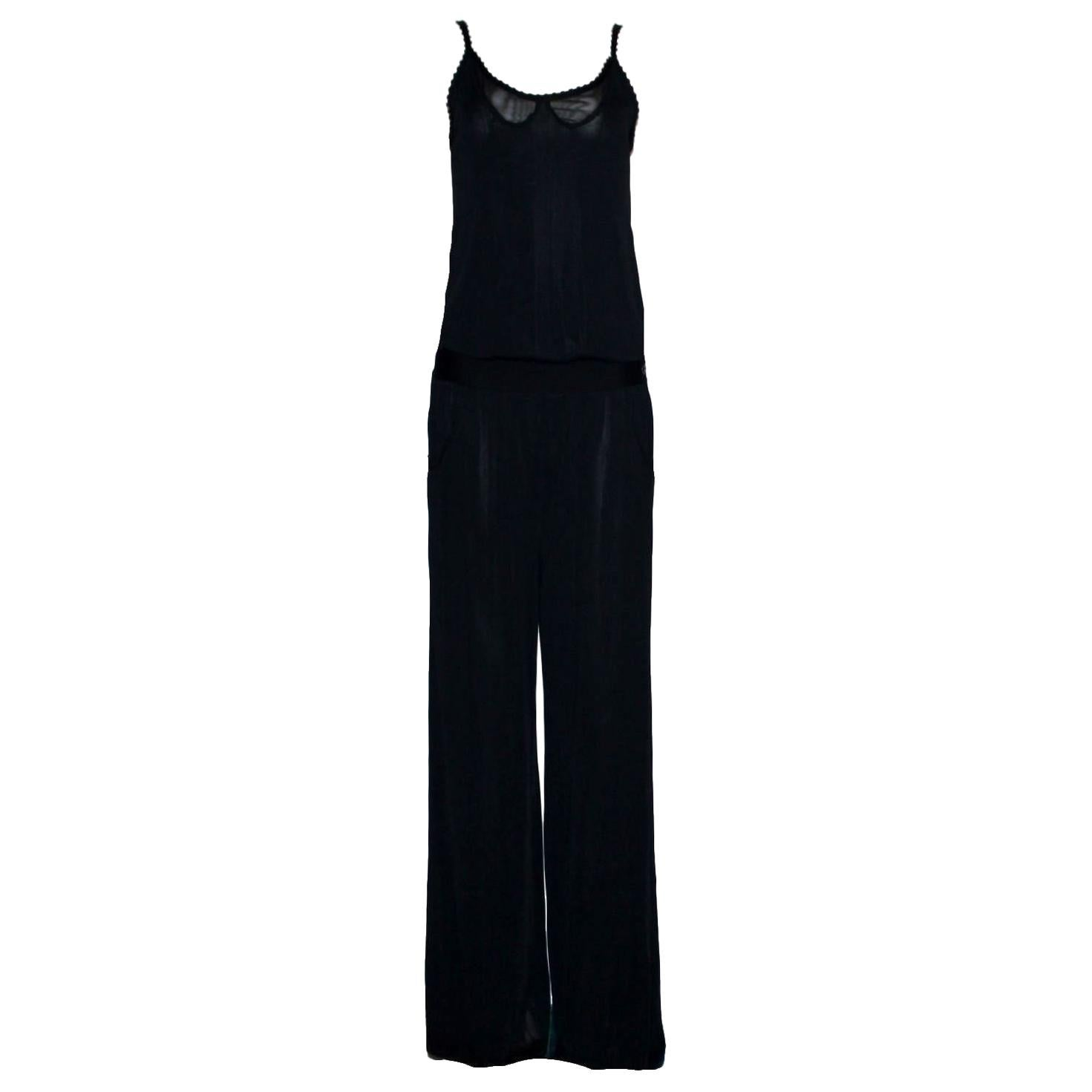 NEW Black Chanel Knitted Wide Leg Jumpsuit Overall Playsuit