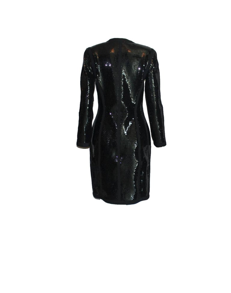 Amazing Black Chanel Sequin Silk Evening Dress Coat Jacket For Sale 2
