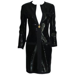 Amazing Black Chanel Sequin Silk Evening Dress Coat Jacket