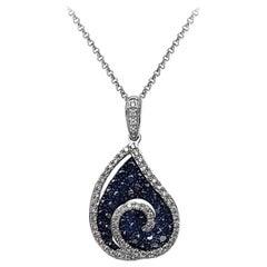 Amazing Black Diamond White Gold 18 Karat Necklace