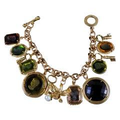 Amazing Bronze and Murano Glass Italian Charm Bracelet by Patrizia Daliana