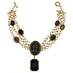 Amazing Bronze Necklace with Engraved Murano glass by Patrizia Daliana