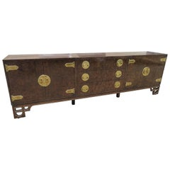 Amazing Burled Amboyna Brass Three-Piece Mastercraft Credenza Buffet Chinoiserie