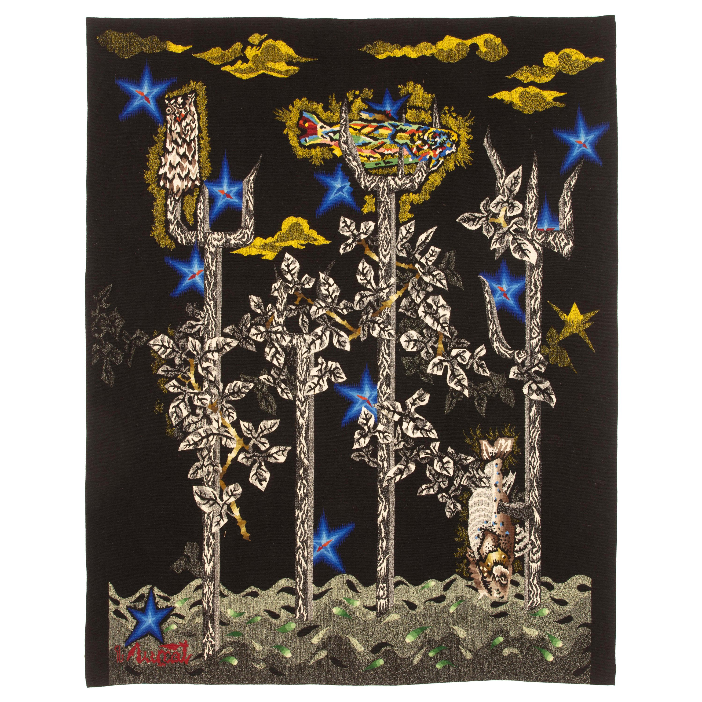 "Wool Tapestry by Jean Lurçat ""Little Neptune"", Gisèle Brivet workshop, France"