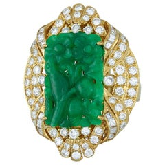 Amazing Certified Natural Carved Green Jadeite Jade and Diamond Estate Ring