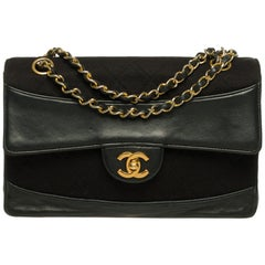 Amazing Chanel Classic bi material crossbody bag in black leather& Jersey, GHW