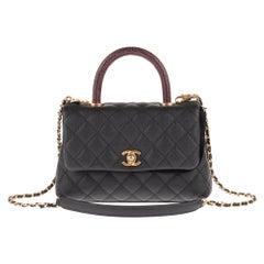 Amazing Chanel Coco handbag in black caviar leather, handle in brown lizard !