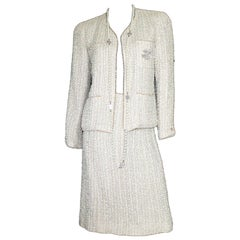 Amazing Chanel Ivory Fantasy Tweed Skirt Suit with Pearl Trimming Details