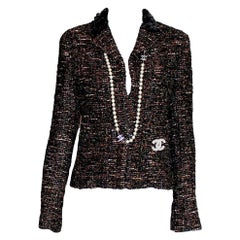 Amazing Chanel Metallic Fantasy Tweed Sequin Trimmed Jacket Blazer
