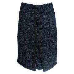 Amazing Chanel Navy & Black Pleated Tweed Skirt
