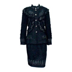 Amazing Chanel Tweed Skirt Jacket Suit with Ribbon Trimming