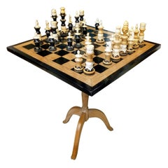 Amazing Chess Set of Handcrafted Wood and Bone Pieces with Table and Board