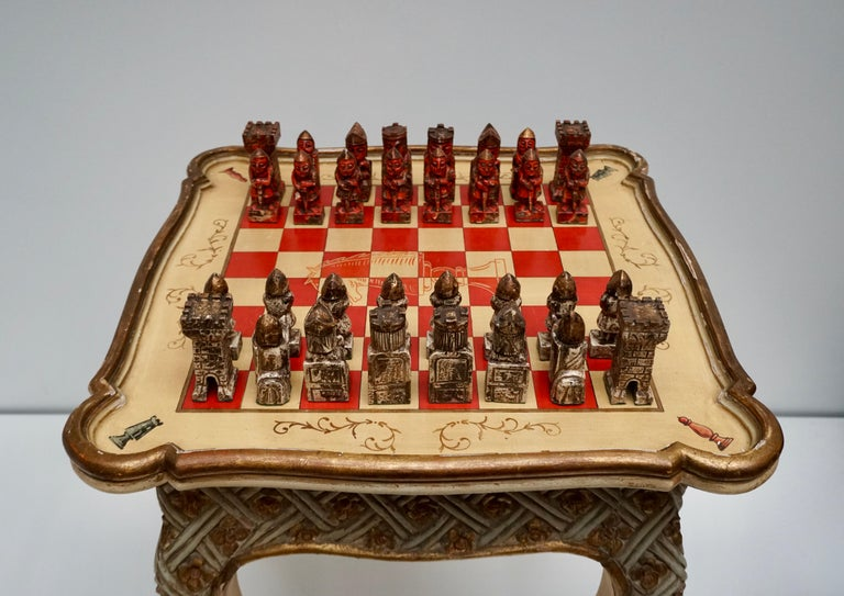 Games Chess Set of Handcrafted and Painted Wood Pieces with Table and Board For Sale 3