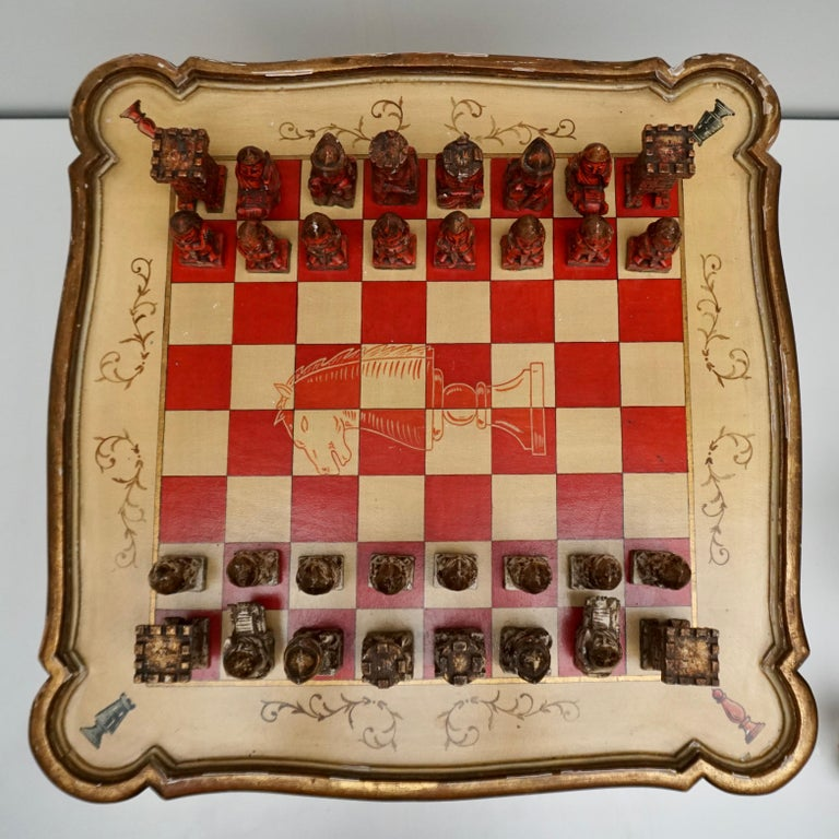 Games Chess Set of Handcrafted and Painted Wood Pieces with Table and Board For Sale 4