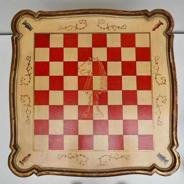Games Chess Set of Handcrafted and Painted Wood Pieces with Table and Board For Sale 5