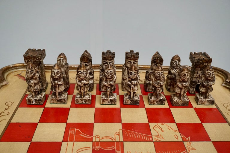 Games Chess Set of Handcrafted and Painted Wood Pieces with Table and Board For Sale 7
