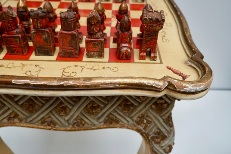 Games Chess Set of Handcrafted and Painted Wood Pieces with Table and Board For Sale 8