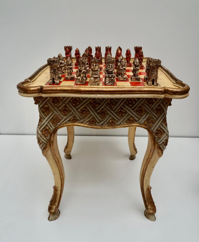 Hollywood Regency Games Chess Set of Handcrafted and Painted Wood Pieces with Table and Board For Sale