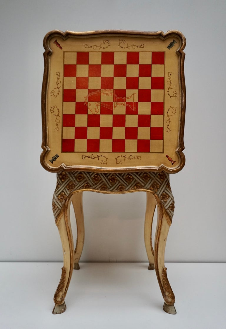 Italian Games Chess Set of Handcrafted and Painted Wood Pieces with Table and Board For Sale