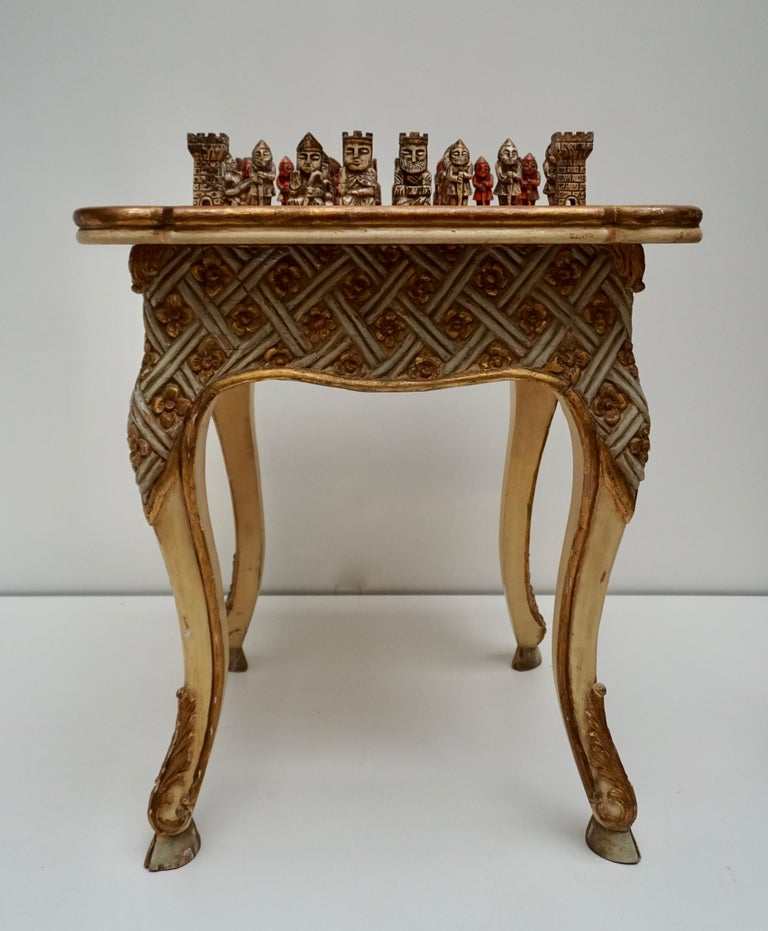 Hand-Carved Games Chess Set of Handcrafted and Painted Wood Pieces with Table and Board For Sale