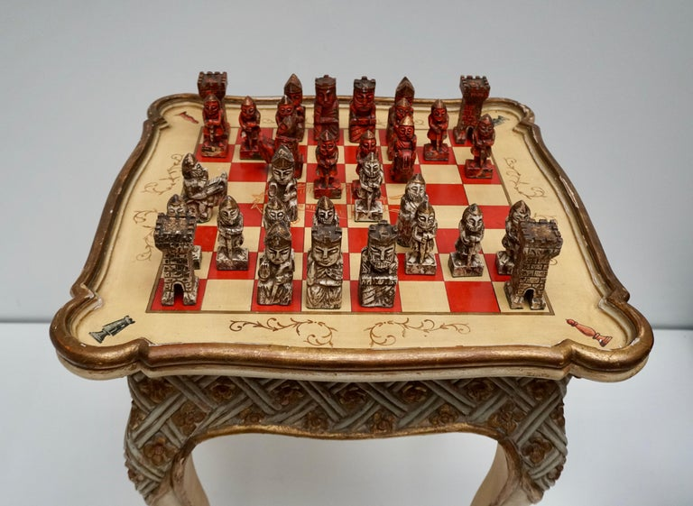Games Chess Set of Handcrafted and Painted Wood Pieces with Table and Board In Good Condition For Sale In Antwerp, BE