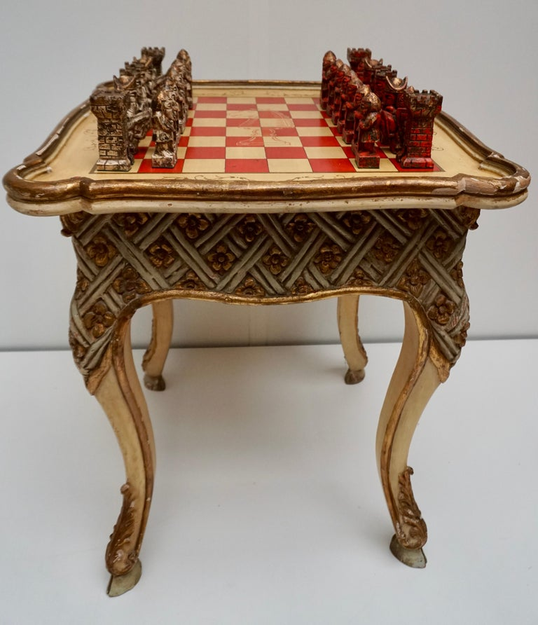 20th Century Games Chess Set of Handcrafted and Painted Wood Pieces with Table and Board For Sale