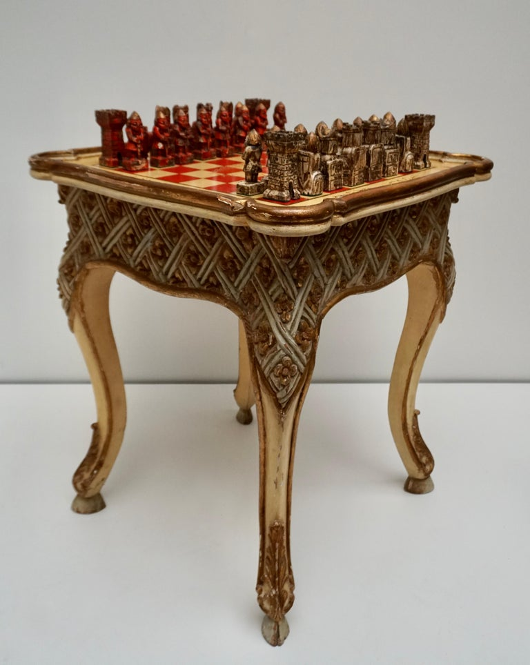 Games Chess Set of Handcrafted and Painted Wood Pieces with Table and Board For Sale 1