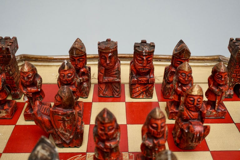 Games Chess Set of Handcrafted and Painted Wood Pieces with Table and Board For Sale 2