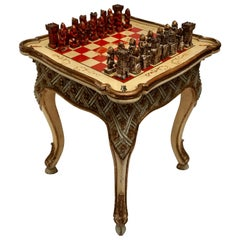 Games Chess Set of Handcrafted and Painted Wood Pieces with Table and Board