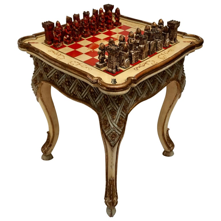 Games Chess Set of Handcrafted and Painted Wood Pieces with Table and Board For Sale