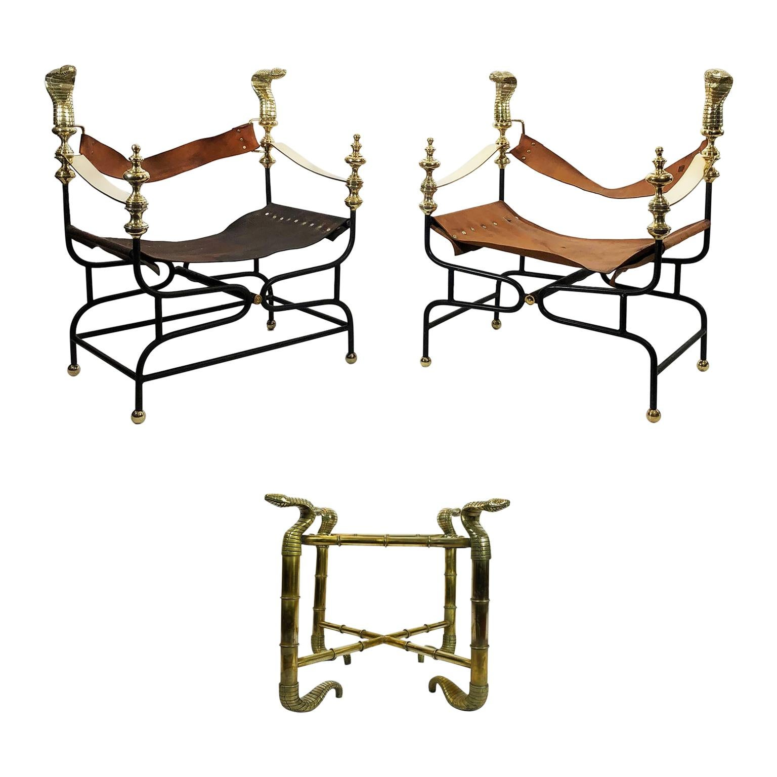 Amazing Cobra Set 'Armchairs and Side Table' by Arturo Pani