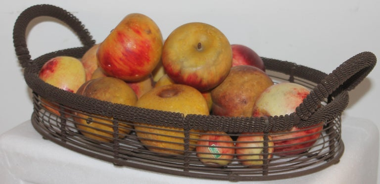 Adirondack Amazing Collection of Alabaster Apples & Wire Basket, 15Pcs. For Sale