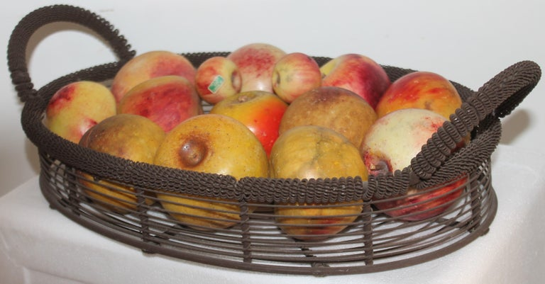 American Amazing Collection of Alabaster Apples & Wire Basket, 15Pcs. For Sale