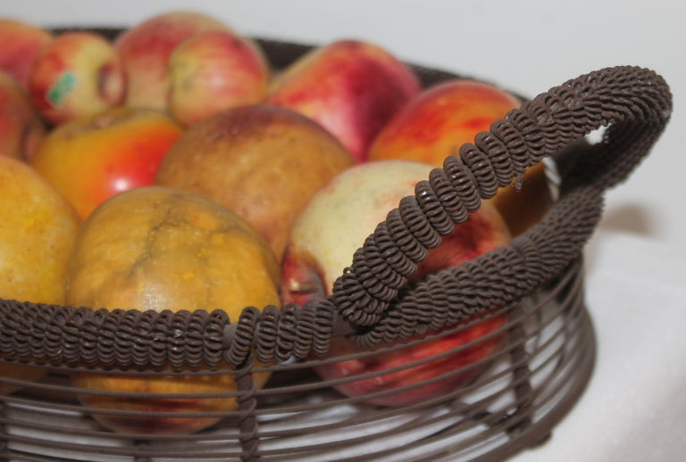 Hand-Painted Amazing Collection of Alabaster Apples & Wire Basket, 15Pcs. For Sale
