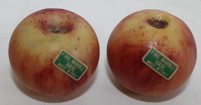 Early 20th Century Amazing Collection of Alabaster Apples & Wire Basket, 15Pcs. For Sale