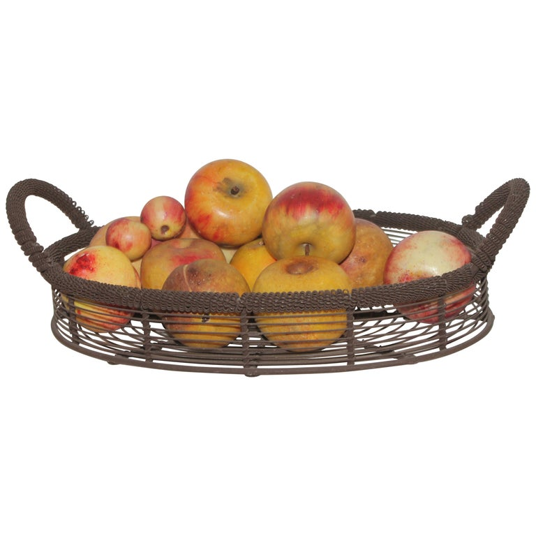 Amazing Collection of Alabaster Apples & Wire Basket, 15Pcs. For Sale