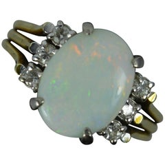 Amazing Colourful Opal and Diamond 14Ct Gold Ring