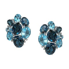 Amazing Combination London Blue Topaz White Diamond White Gold 18 Karat Earrings
