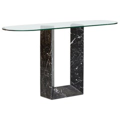 Amazing Consolle in Black Marble and Glass Top by Fontana Arte, 1980