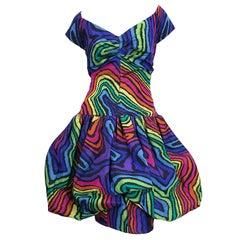 Amazing Demi Couture Italian 1980s Rainbow Color Silk Taffeta Pouf Bubble Dress