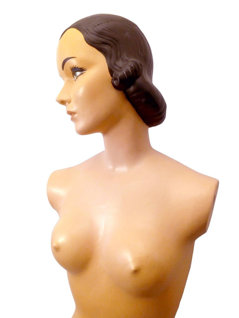 Cast Amazing Female Plaster and Mesh Mannequin from the 1950s For Sale