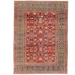 Amazing Fine Weave Antique Farahan Sarouk Rug with Intricate Border Design