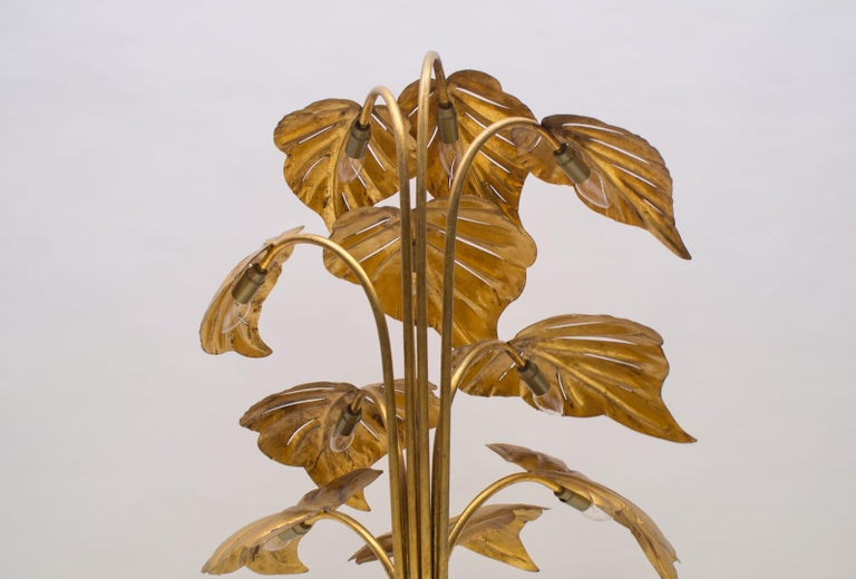 Amazing Gilded Floral Floor Lamp by Hans Kögl, Germany, 1960s For Sale 3
