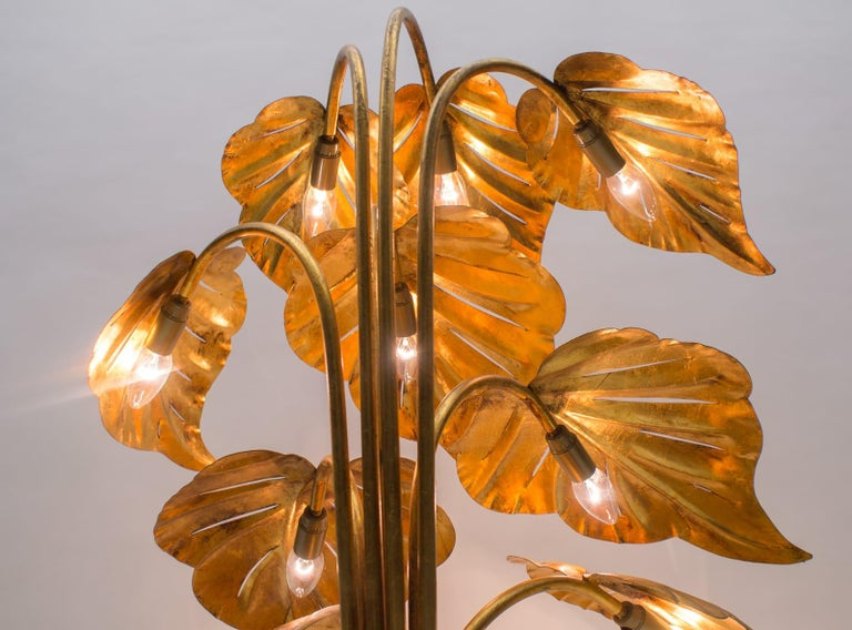 Amazing Gilded Floral Floor Lamp by Hans Kögl, Germany, 1960s For Sale 4