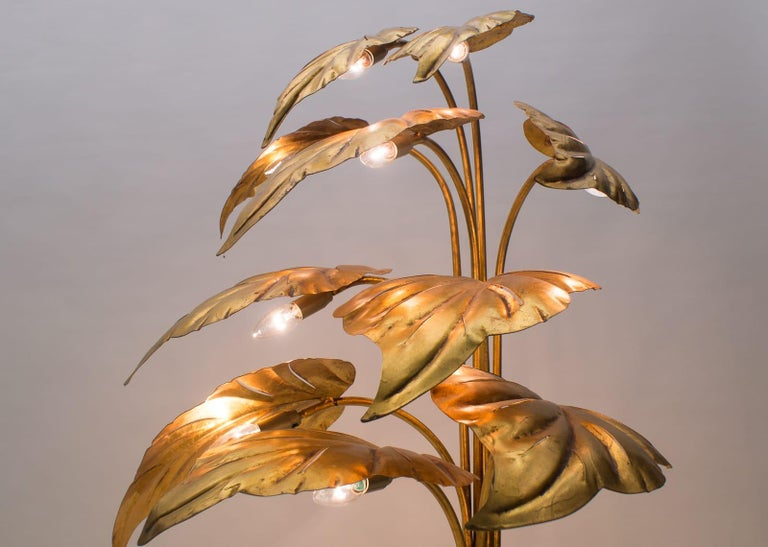 Amazing Gilded Floral Floor Lamp by Hans Kögl, Germany, 1960s For Sale 6